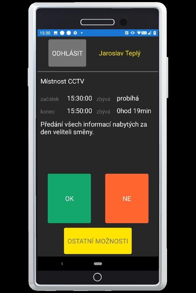 Mobilní aplikace slouží k identifikaci pracovníka (docházka) a místa úkolu pomocí QR kódu.